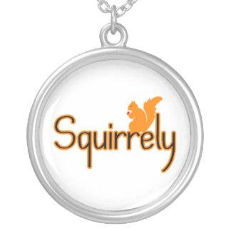 Squirrely Squirrel Round Pendant Necklace