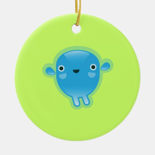 Squishies Blue Woot Round Ornament