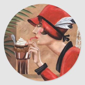 Squisito Cioccolato Italian Chocolate Woman in Red Classic Round Sticker