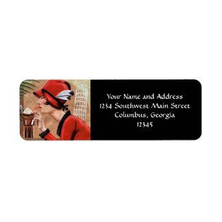 Squisito Cioccolato Italian Chocolate Woman in Red Custom Return Address Labels