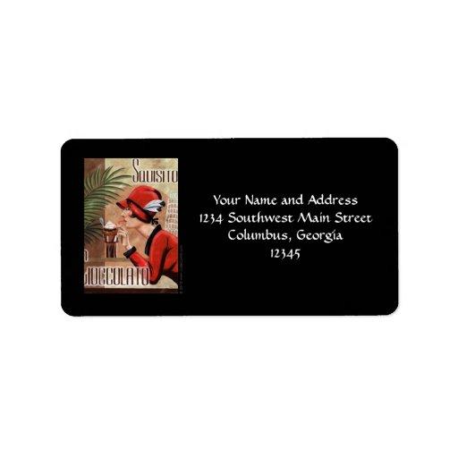 Squisito Cioccolato Italian Chocolate Woman in Red Custom Address Label