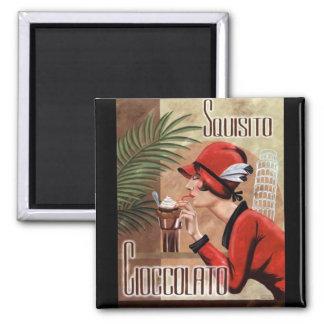 Squisito Cioccolato Italian Chocolate Woman in Red Magnet
