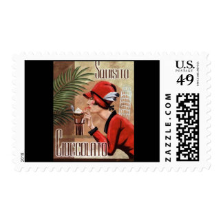 Squisito Cioccolato Italian Chocolate Woman in Red Postage