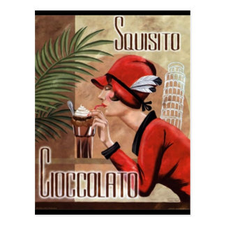Squisito Cioccolato Italian Chocolate Woman in Red Postcard