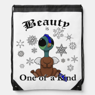 Squite Beauty is one of a kind with snowflakes Drawstring Backpack
