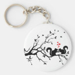 Squrrels with red hearts on tree branch basic round button keychain