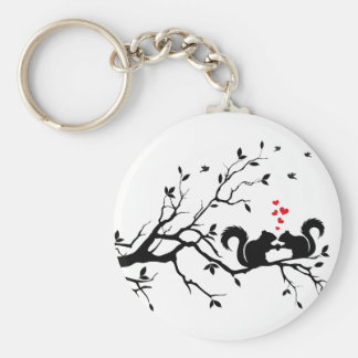 Squrrels with red hearts on tree branch keychain