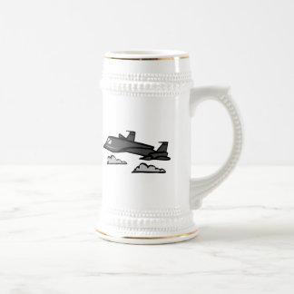 SR71 Blackbird Recon Plane Flying In Clouds Beer Stein