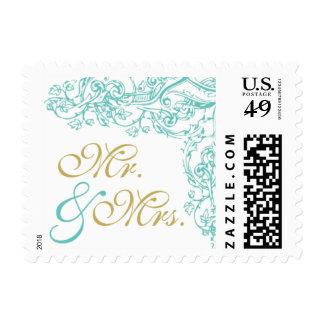 Sr. adornado y señora Stamp del azul y del oro del Sello Postal