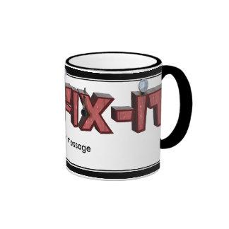 Sr. Arreglo-Él Wooden Text Design (con los clavos) Tazas De Café