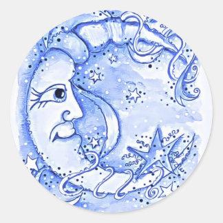 Sr. azul eléctrico Moon Sticker Pegatina Redonda
