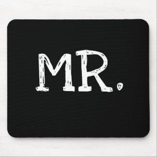 Sr. blanco del texto del novio mouse pad
