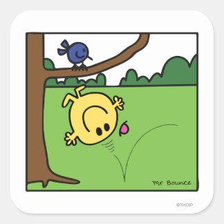 Sr. Bounce en el parque Calcomanías Cuadradass Personalizadas