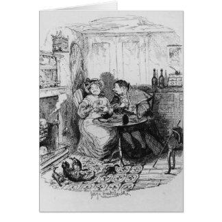 Sr. Bumble y señora Corney que toma té Tarjeta De Felicitación