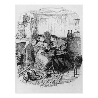 Sr. Bumble y señora Corney que toma té Postal