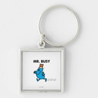 Sr. Busy Running Quickly Llavero Cuadrado Plateado