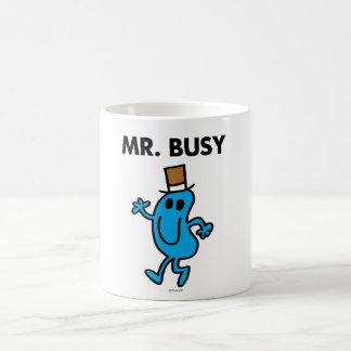 Sr. Busy Waving Hello Taza Básica Blanca