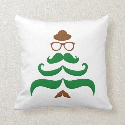 Sr. Christmas Mustache Tree Almohadas