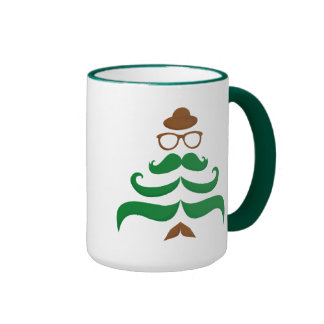 Sr. Christmas Mustache Tree Taza De Dos Colores
