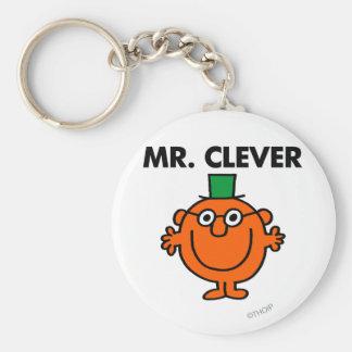 Sr. clásico Clever Logo Llavero Redondo Tipo Pin