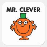 Sr. clásico Clever Logo Pegatina Cuadrada