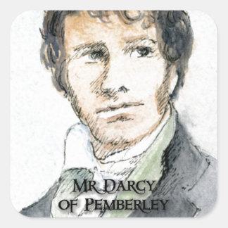Sr. Darcy de Pemberley Pegatina Cuadrada