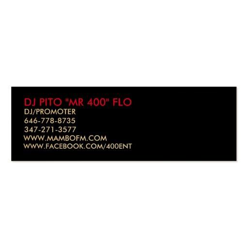 """SR. DE DJ PITO """"400"""" FLO, WWW.MAMBOFM.COM, TARJETAS DE VISITA MINI"""