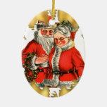 Sr. del vintage y ornamento del navidad de señora adorno ovalado de cerámica