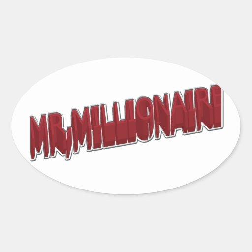 SR., dimensión del rojo 3 del millonario Pegatina Ovalada
