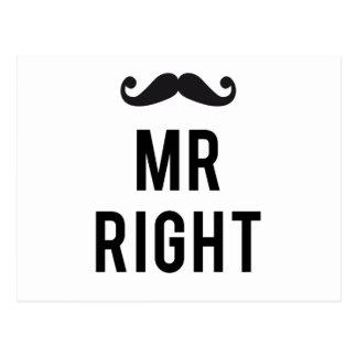 Sr. diseño correcto del texto con el bigote postales