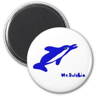 Sr. Dolphin- un gráfico del delfín en azul y blanc Imán De Nevera