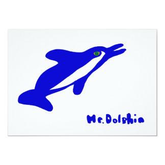 """Sr. Dolphin- un gráfico del delfín en azul y Invitación 5"""" X 7"""""""
