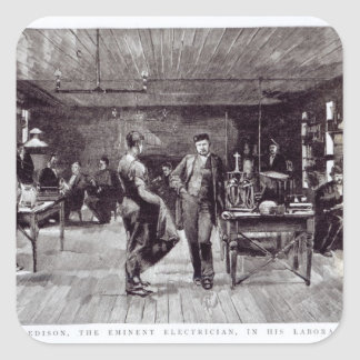 Sr. Edison, el electricista eminente Pegatina Cuadrada