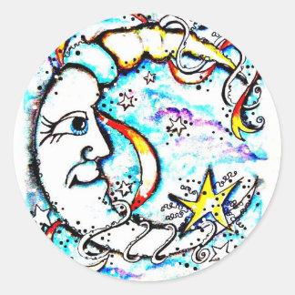 Sr. eléctrico Moon Sticker Pegatina Redonda