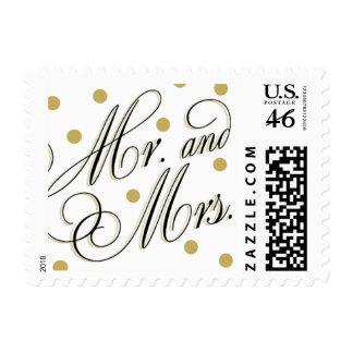 Sr elegante del oro de los puntos + Señora Stamp
