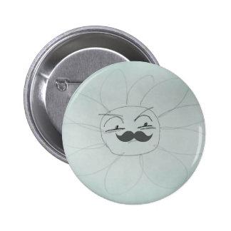 Sr. enfadado Daisy Mustache Funny Doodle Pin Redondo 5 Cm