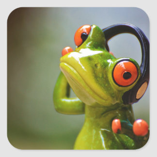 Sr. Frog con los auriculares Pegatina Cuadrada