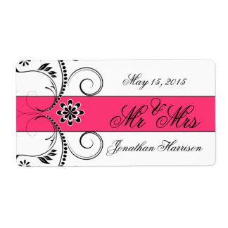 Sr fucsia señora etiquetas del boda de la cinta d etiquetas de envío