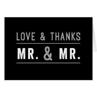 Sr. gay y Sr. Wedding Thank You Cards de los pares Tarjeta