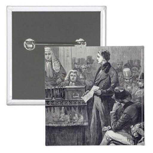 Sr. Gladstone que entrega su discurso virginal Pin Cuadrado