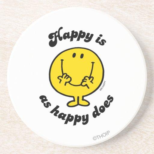 Sr. Happy el | feliz es como feliz lo hace Posavasos Diseño