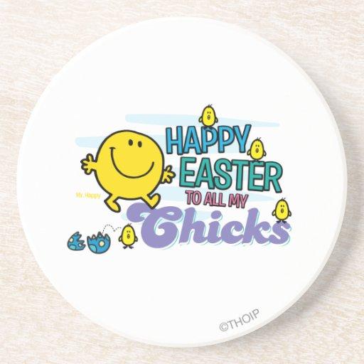 Sr. Happy el   Pascua feliz a todos mis polluelos Posavasos Para Bebidas
