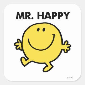 Sr. Happy el   que baila y que sonríe Pegatina Cuadrada