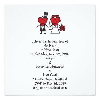 """Sr. Heart Wedding Invitation - cuadrado Invitación 5.25"""" X 5.25"""""""