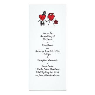 """Sr. Heart Wedding Invitation - de largo Invitación 4"""" X 9.25"""""""