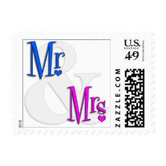 Sr. inspirado retro. Y señora Heart Stamps Estampilla