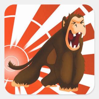 Sr. Jingles Monkey Sticker Pegatina Cuadrada