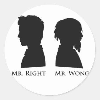 Sr. la Right contra Sr. Wong Pegatina Redonda