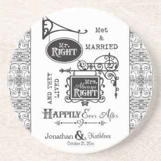 Sr. la Right y señora Always la Right Wedding Marr Posavaso Para Bebida