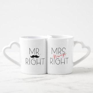 Sr. la Right y sistema de señora Always la Right Tazas Amorosas